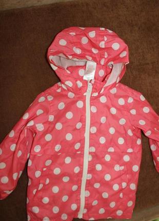 Плащ ветровка дождевик на девочку в горошек 3-4 годика