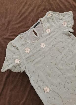 Блуза, блузка нарядная, вышивка бисером, вышивка пайетками, цветы