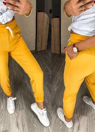 Брюки, штаны повседневные горчичные, желтые
