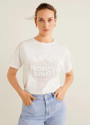 Базовая футболка с тисненными буквами, s, m mango, оригинал