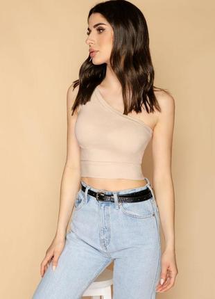 Топ на одно плечо женский стрейч джинс бежевый