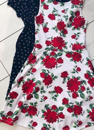 Белое платье / сарафан с розами h&m