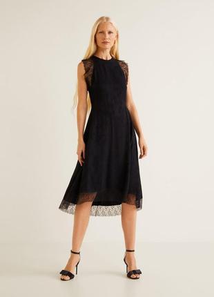 Mango платье чёрное с кружевом