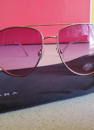 Стильные розовые очки с чехлом zara