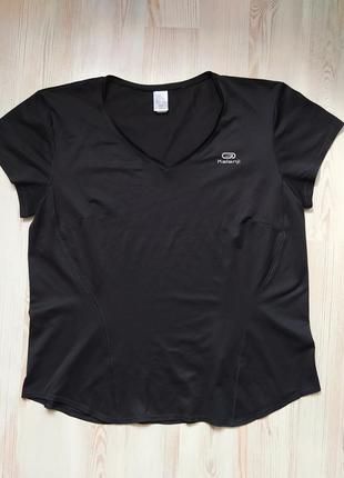 Чёрная спортивная футболка свитшот kalenji размер 48 l