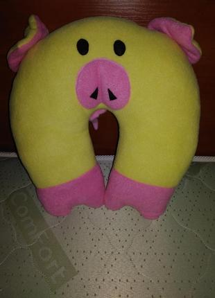Подушка свинка, полушка валик под шею, автомобильная подушка