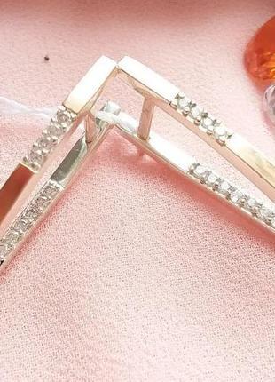 Серебряные серьги прищепки длинные треугольные