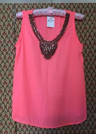 Блуза неоновая шифоновая нарядная вышивка бисер камни топ