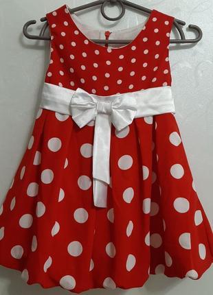 Шикарное нарядное красное в горох платье р. 86-92-98 польша