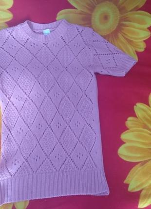 Женская вязанная розовая кофточка