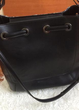 Шикарна вмістка сумка із вставкою тканини від ladel be (замінник шкіри)2