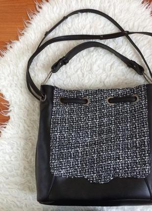 Шикарна вмістка сумка із вставкою тканини від ladel be (замінник шкіри)1