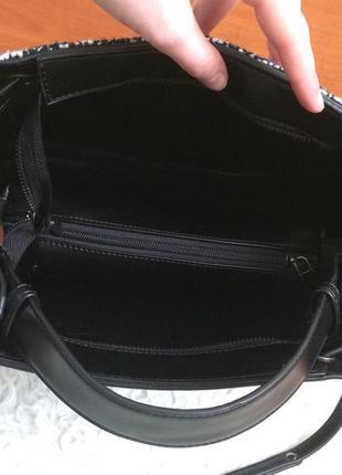 Шикарна вмістка сумка із вставкою тканини від ladel be (замінник шкіри)5