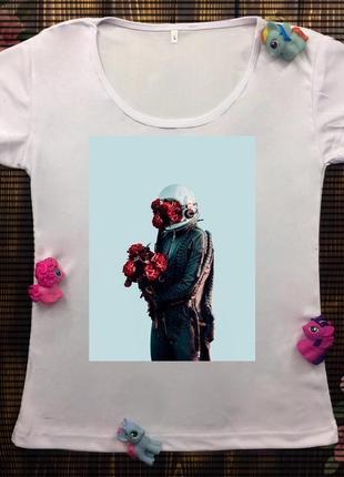 Женские футболки с принтом - космонавт