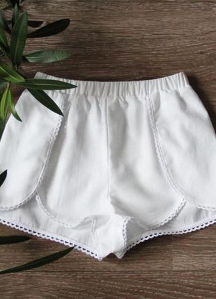 Белые шорты для девочек, детские шорты с запахом, белоснежные шорты на девочку