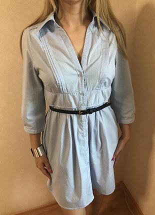 Платье-рубашка тонкий котон/туника h&m в полоску