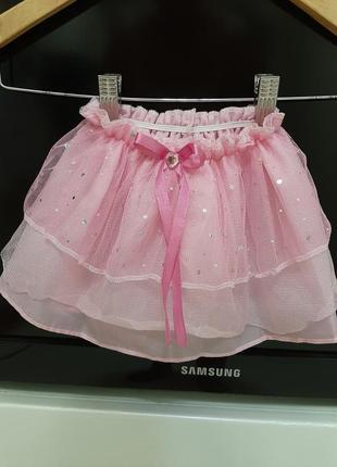 Легкая фатиновая красивая юбка р. 74-104 (с 6 мес до 3 лет) нежно розовая