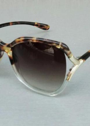 Tom ford очки женские солнцезащитные большие коричневые тигровые с градиентом