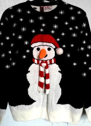 Свитер женский новогодний с снеговиком фирмы merry christmas размер 48