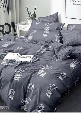 Комплект постельного белья кактус серый