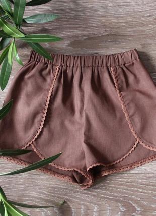 Коричневые шорты для девочек, летние детские шорты с кружевами