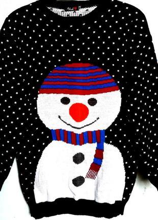 Свитер женский новогодний яркий с снеговиком фирмы blush размер 48