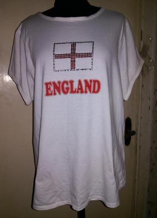 Натуральная-100% хлопок,трикотажная,белая футболка с декором,большого размера cherokee