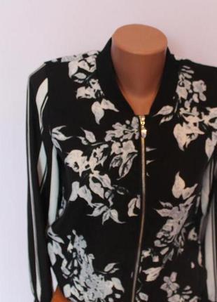 Женская кофта бомбер на змейке amisu цветы