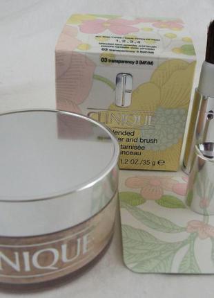 Рассыпчатая пудра с кисточкой clinique blended face powder & brush