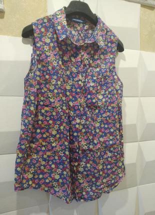 Женская блуза безрукавка в цветочный принт рубашка женская