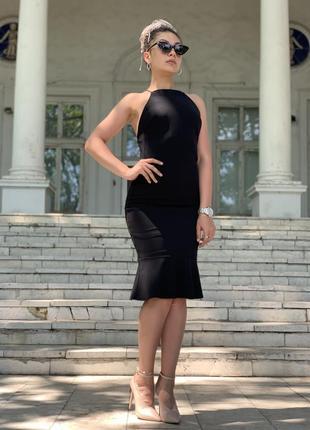 Чёрное вечернее платье миди
