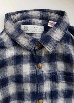 Брендовая рубашка 100% коттон в клетку zara baby