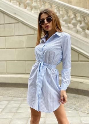 Платье-рубашка в мелкую полоску с поясом