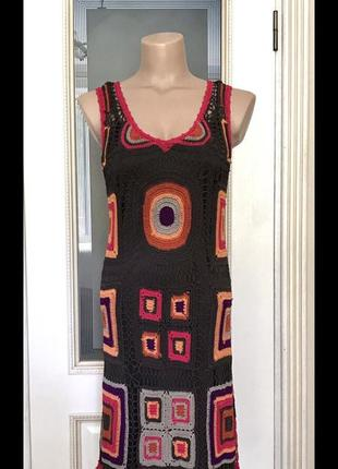 Вязаное платье крючком, туника, сарафан, ажурное