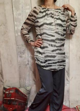 Блуза блузка белая с чёрным длинная с длинным рукавом