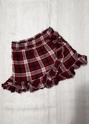 🌞 распродажа юбка в клеточку трапеция короткая с рюшами next 3 год