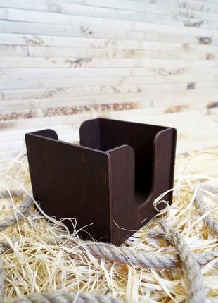 Дерев'яна салфетниця органайзер, деревянная салфетница 12х12х10 внутр.