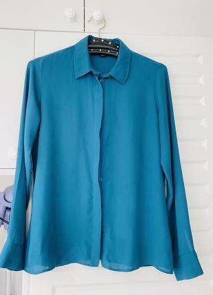 Бирюзовая блуза на лето размер s полупрозрачная классика