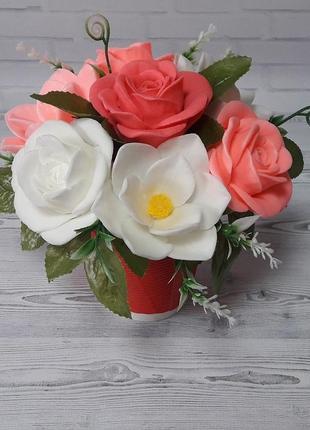 """Букет цветов из мыла """"розы и магнолии"""""""