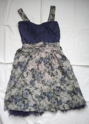 Стильный сарафан синие розы