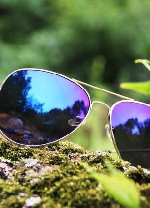 Солнцезащитные очки aviator синие унисекс