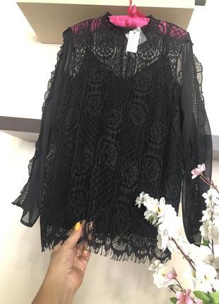 Женская кружевная кофта блузка на шифоновой подкладке-майке