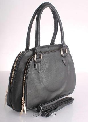 Стильная черная сумка richezza эко-кожа