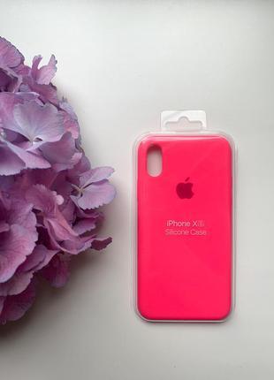 Чехол силиконовый для iphone x/xs silicone case розового цвета