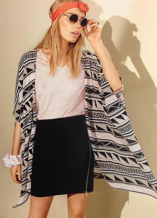 Штапельный кардиган кимоно накидка  кофта в эническом принте бохо