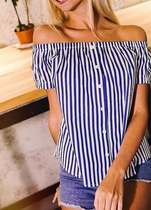 Блуза,льняной топ в полоску с открытыми плечиками