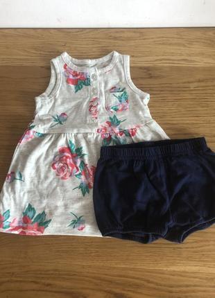 Плаття платье шорти трусики carter's 3-6 міс новий