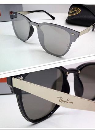 Солнцезащитные очки серебристые линзы металлик от известного бренда