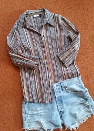 Рубашка на лето, блуза в полоску, жатка