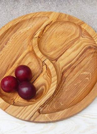 Круглий піднос, дошка для подачі страв на 2 секції